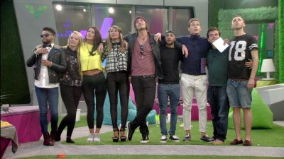 Big Brother 15 2014 housemates look at a rainbow